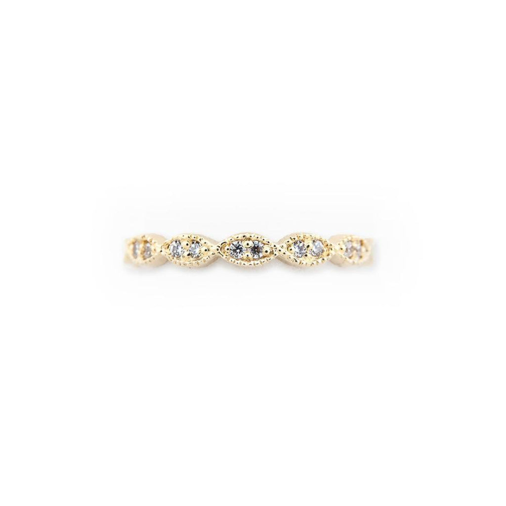 Marquise Eternity Ring with Pave Diamonds