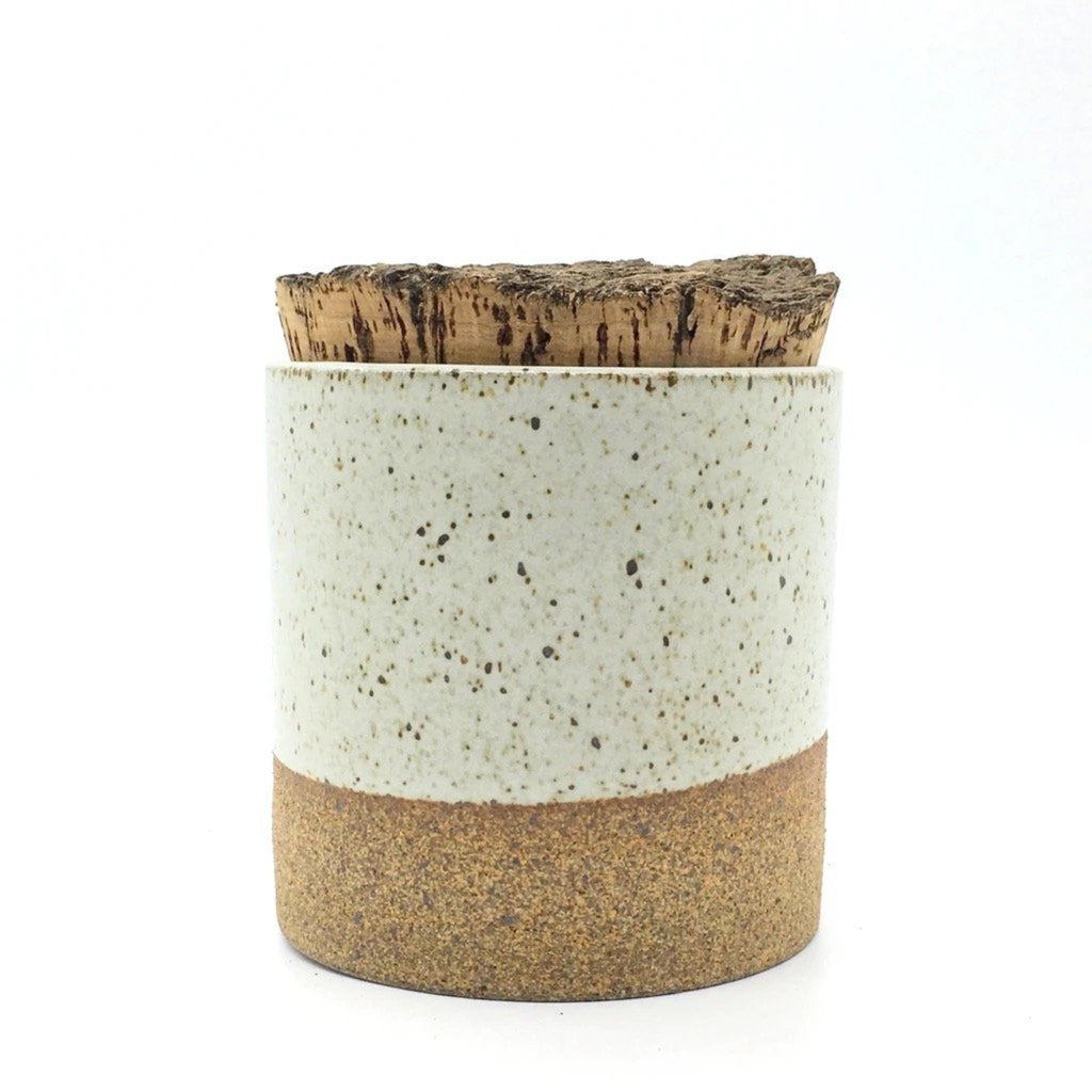 Canister w/ Bark Top - Sandstone/Snow White