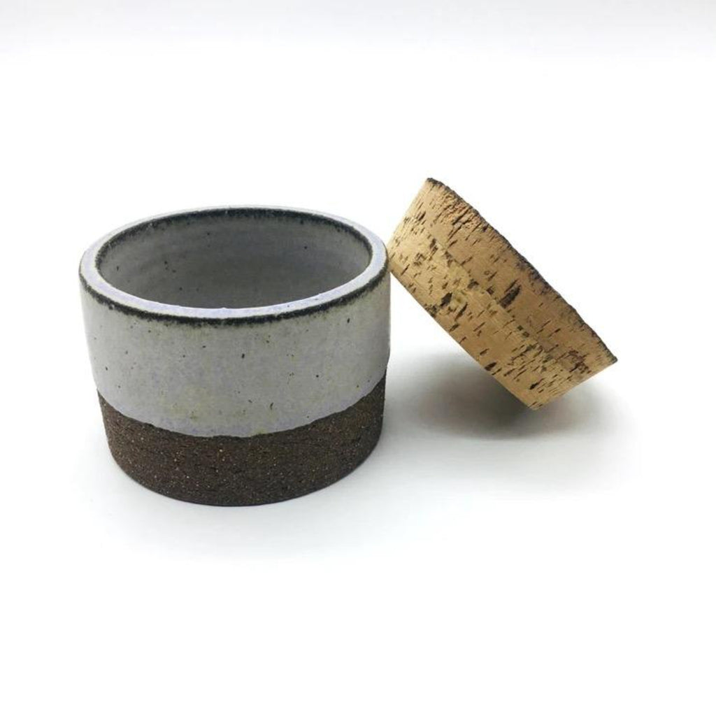 Canister w/ Bark Top- Brownstone/Lavender