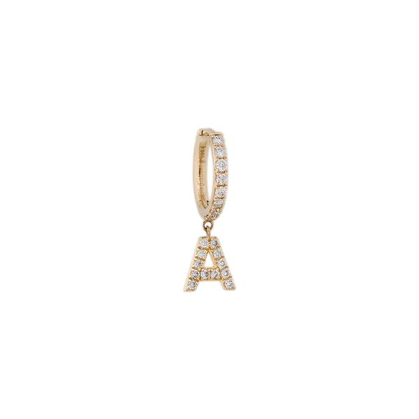 Pave Diamond Letter Mini Hoop