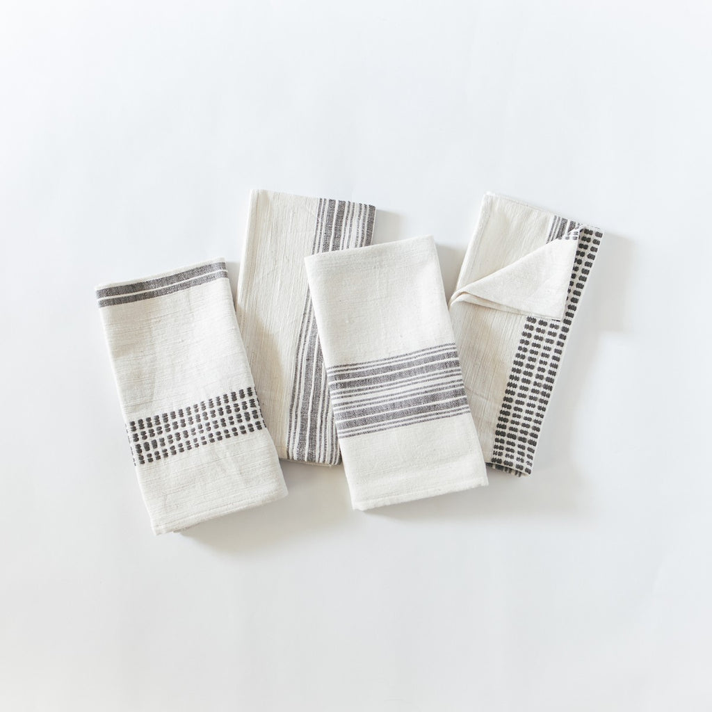 Aden Cotton Tea Towel/Napkin-Natural w/ Grey Set of 4