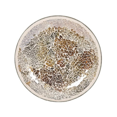 Gold & Silver Crackle Candle Plate