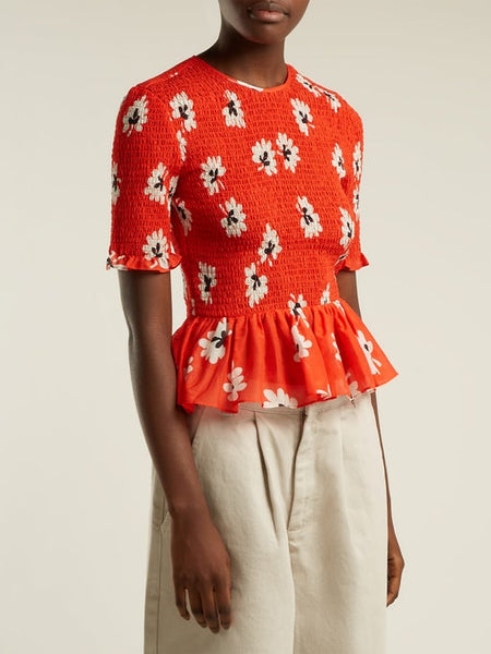 Ganni Linaria shirred floral-print cotton and silk-blend top