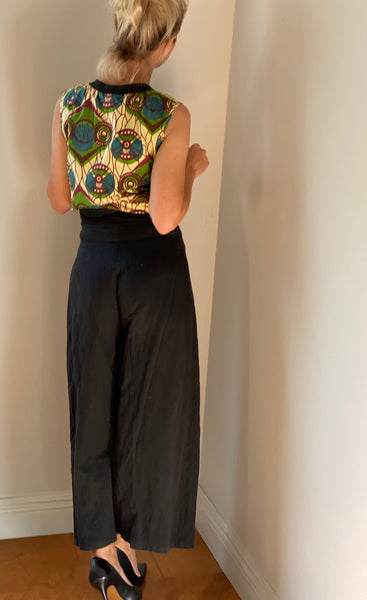 Marni black cotton wide cropped pants size 38 made in Italy