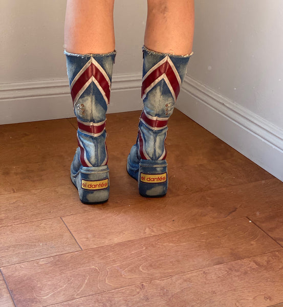 El Dantes denim wedge boots size 37 made in Spain
