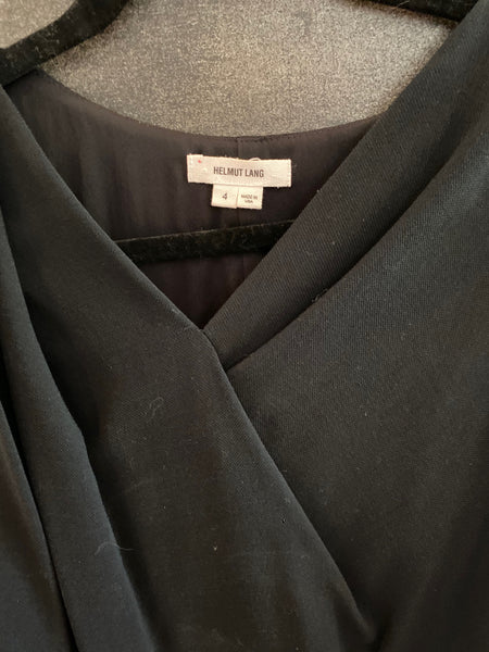 Helmut Lang little black wool blend dress size 4 made in USA
