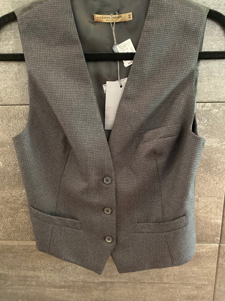 Alexander McQueen black wool vest size 42 made in italy NWT