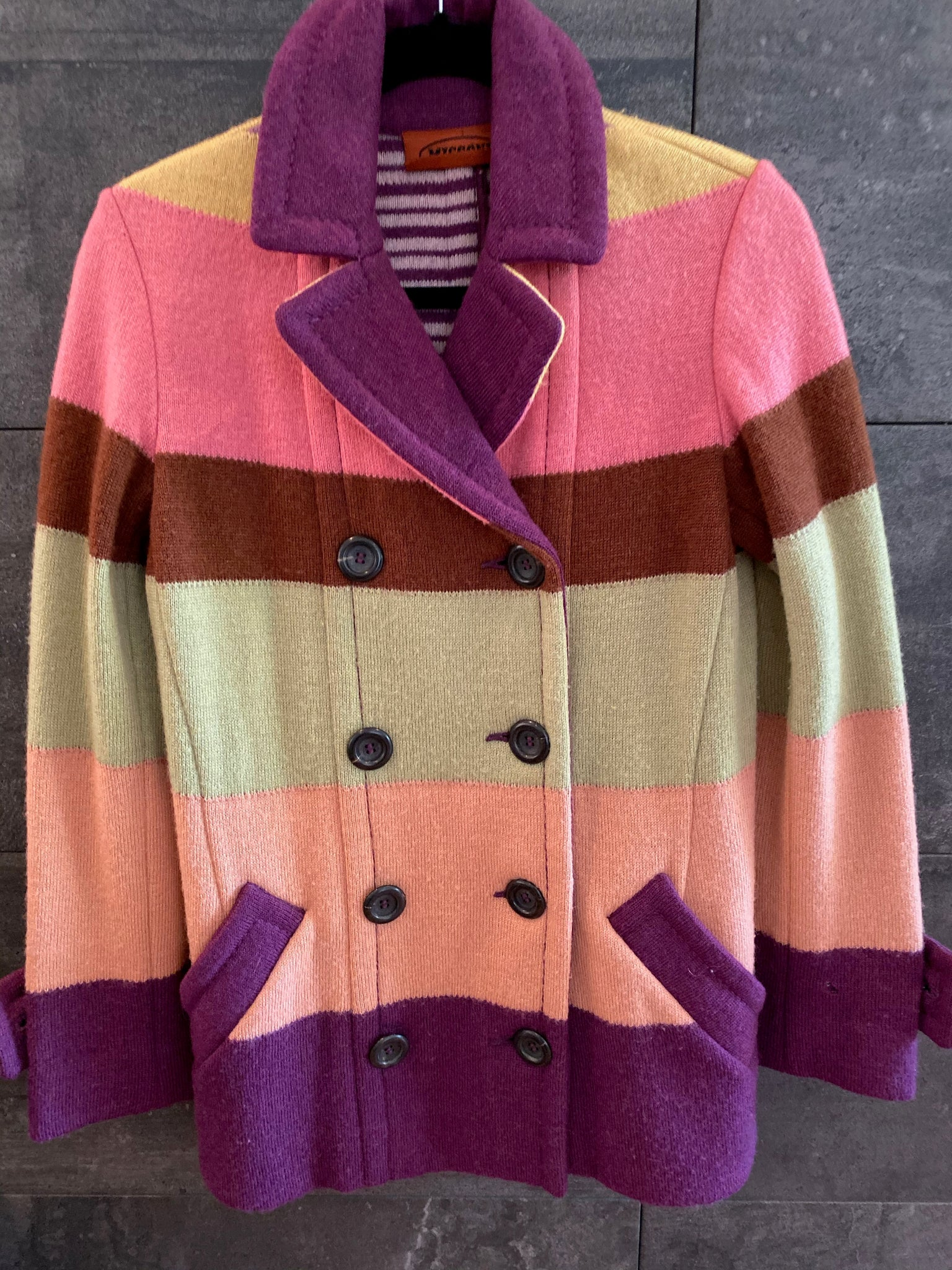 Missoni multi color striped wool jacket size 42 made in Italy