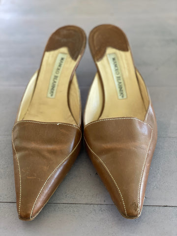Manolo Blahnik brown mules size 37.5 made in italy