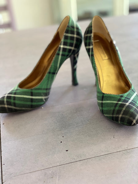 Bottega Veneta green plaid high pump size 37 made in Italy