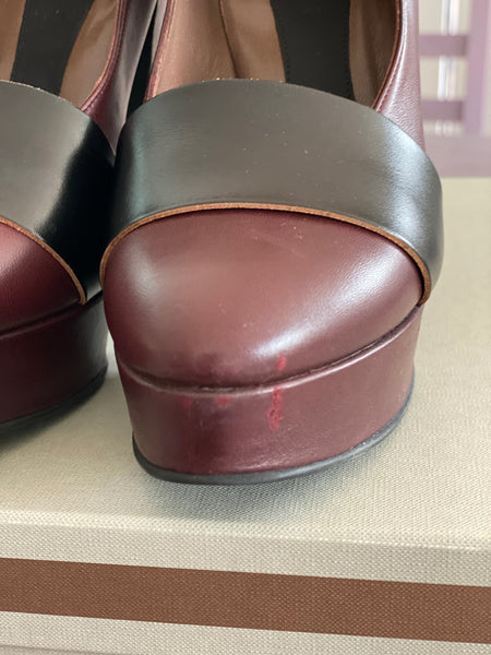 "Marni brown ankle strap 5"" heel pumps size 37 made in Italy"
