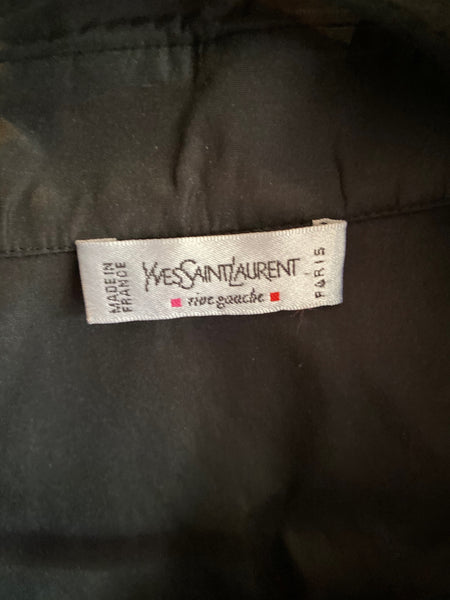 Yves Saint Laurent Rive Gauche black silk blend blouse size 36