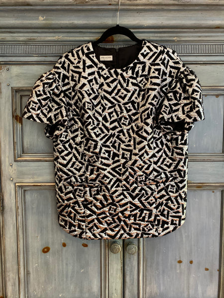 Dries Van Noten black silver evening top size 36 (runs full) made in Belgium