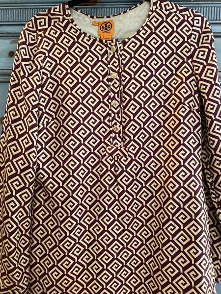Tory Burch silk geometric design tunic dress size 8