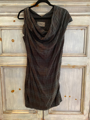 ALL SAINTS Limski cowl neck plaid tunic dress size 10