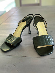 Authentic Chanel black leather sling back sandals size 37.5 fits size 7