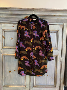 Stella McCartney Wild Cat black silk long shirt size 38