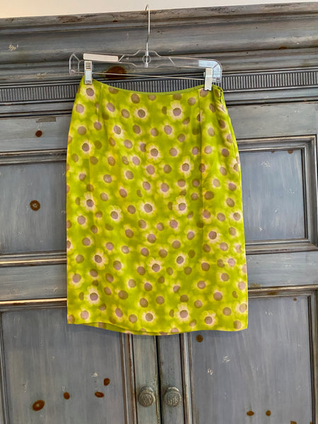 GIanni Versace kelly green silk pencil skirt size 38 made in Italy