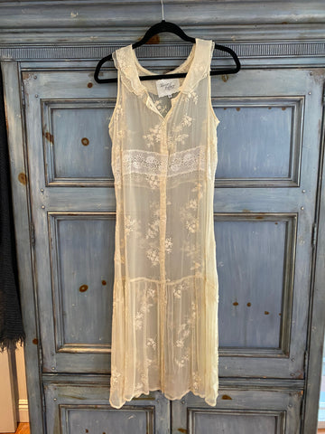 For Love & Liberty ivory sheer lace silk dress size S