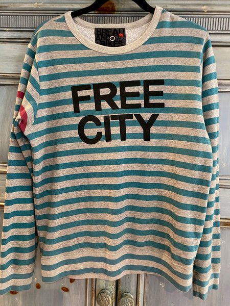 Free City Neighborhood crew neck striped sweatshirt size S