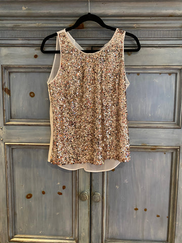 Sandro Entredeux gold sequin top with sheer ivory back size 1 (S)