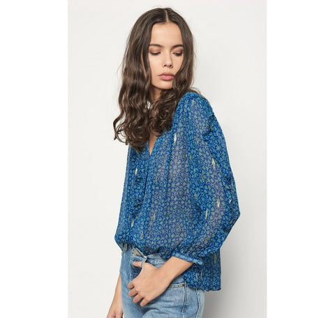 Ba&Sh Masha sheer blue embellished blouse size US4
