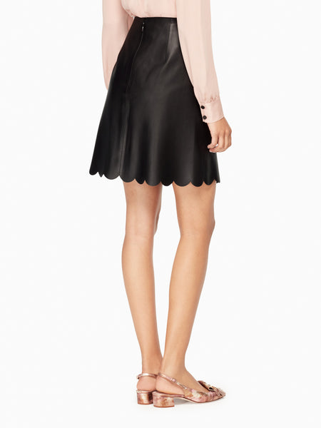 Kate Spade black leather scalloped skirt size 10