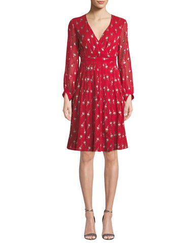 BA&SH Memory red silk floral dress size 4