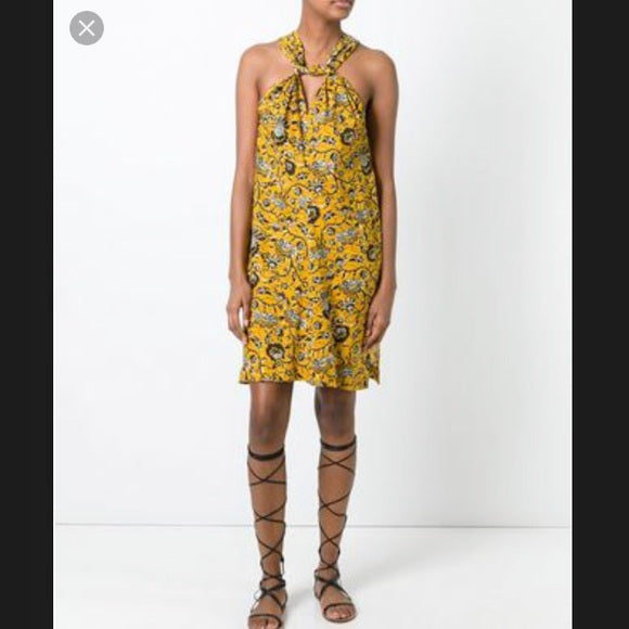 Isabel Marant Etoile Aba yellow floral print dress size S