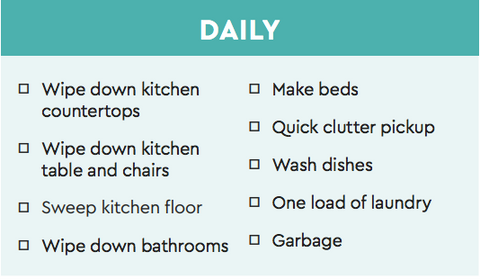 daily cleaning plan