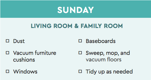 living room cleaning plan