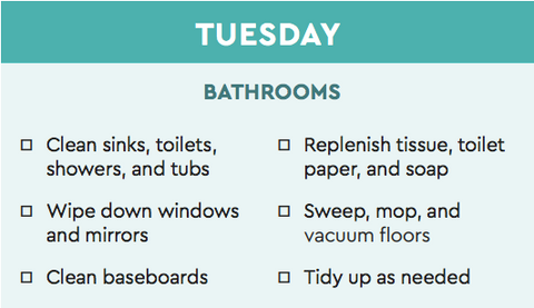bathroom cleaning chart