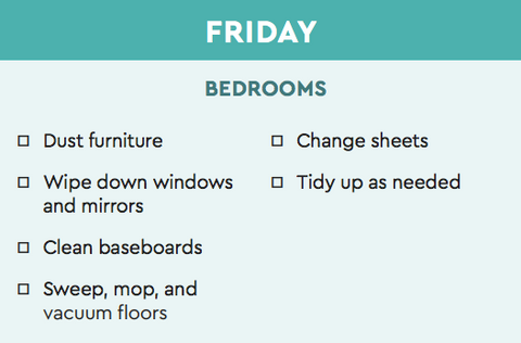 easy bedroom cleaning chart