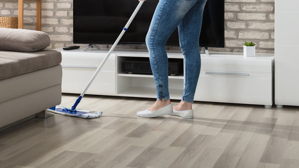 mopping hardwood floors