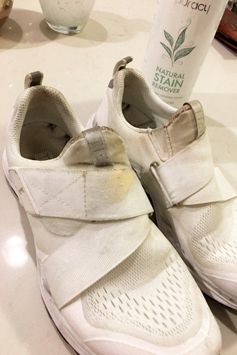 Clean dirty sneakers with Puracy Natural Stain Remover