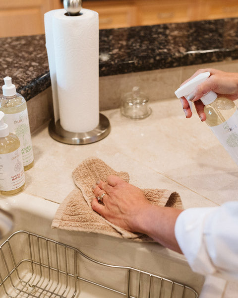 Cleaning the kitchen with Puracy Natural Multi-surface Cleaner
