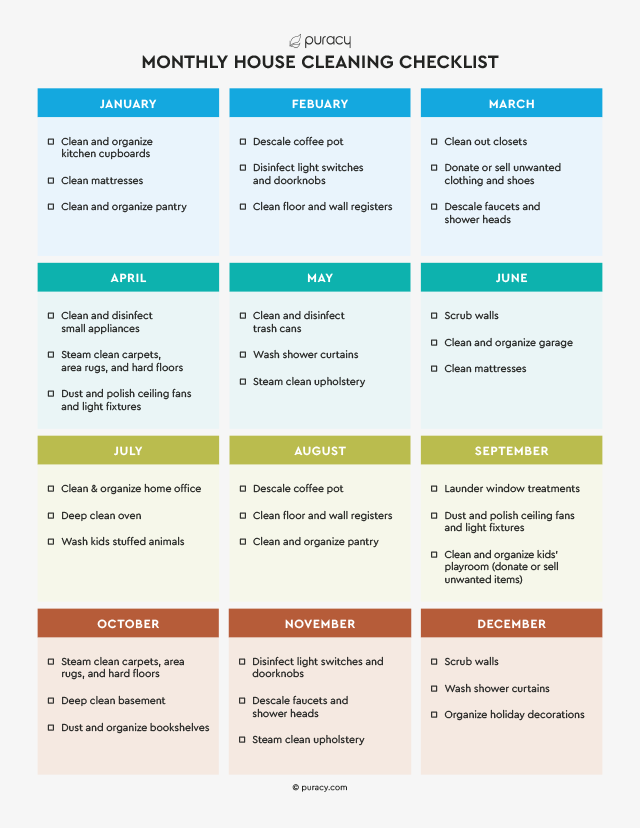 Puracy's printable monthly house cleaning checklist