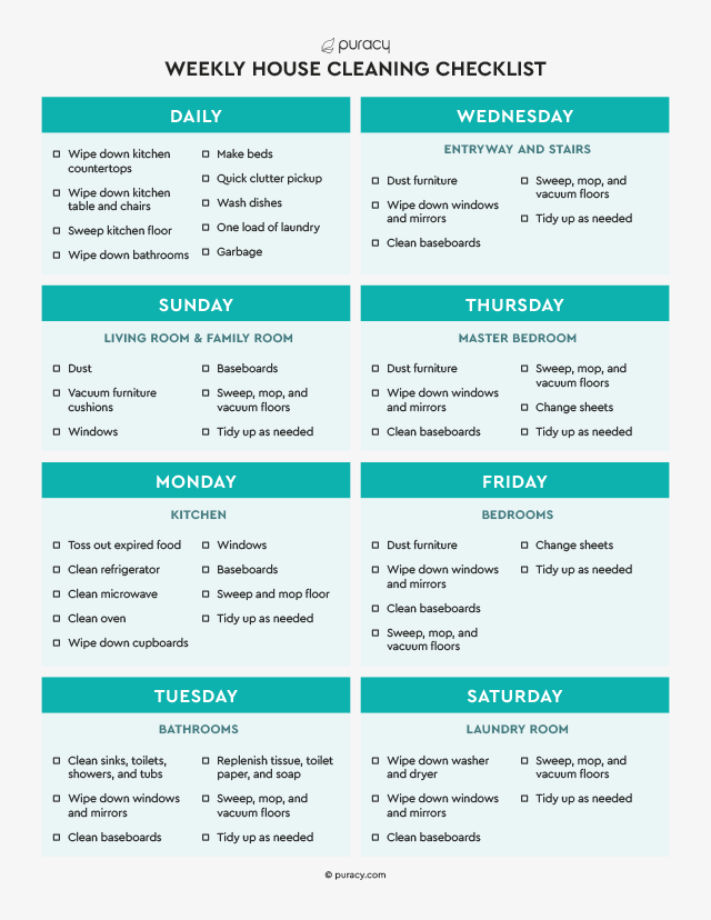 Puracy's printable weekly house cleaning checklist