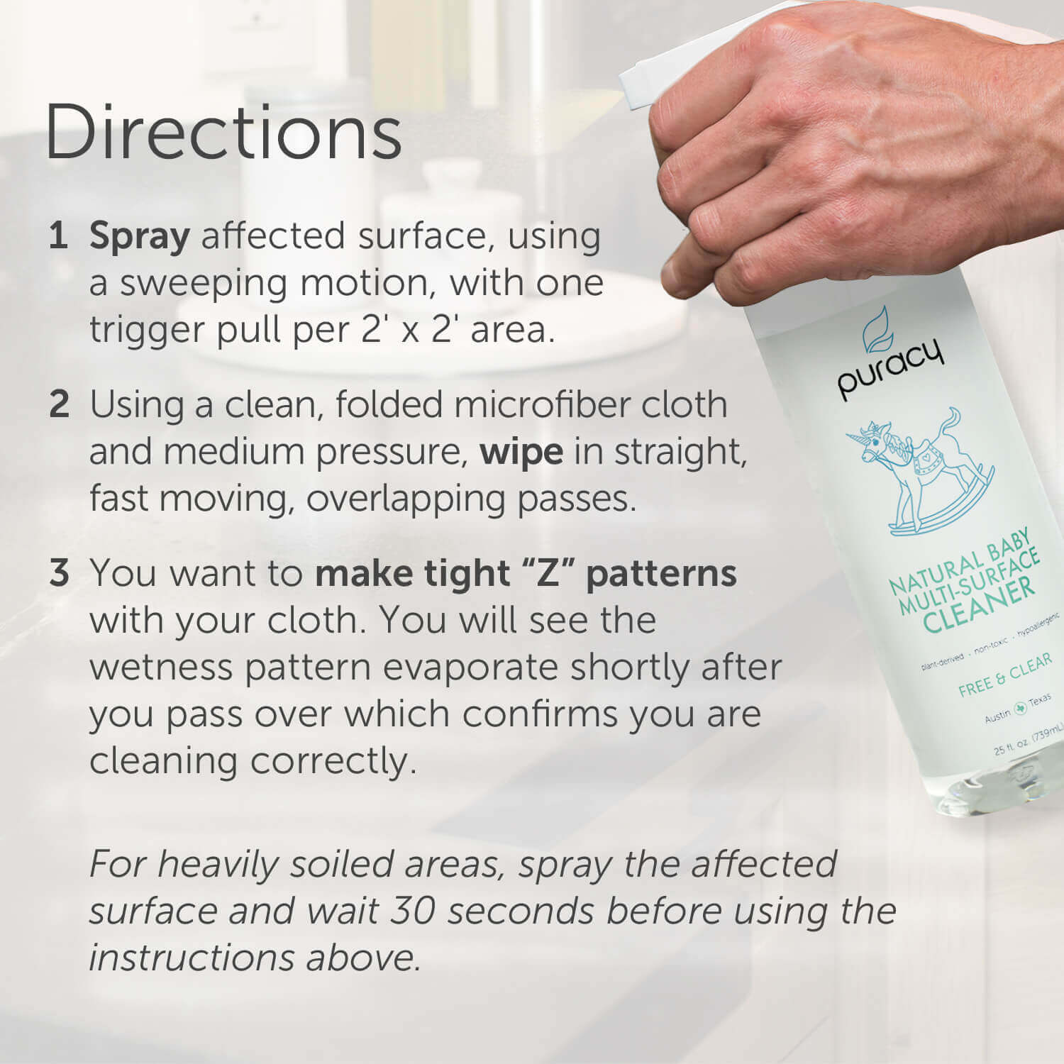 Puracy Natural Baby Multi-Surface Cleaner - Free, Clear, Safe