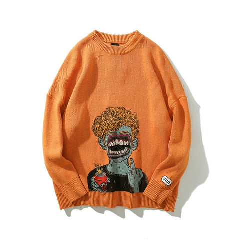 Dark Icon Printing Ripped Men's Sweater