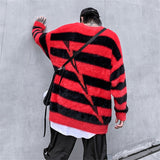 Stripe Sweaters Hip Hop Loose Pullover Sweater