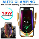 10W Wireless Charger Infrared Sensor Automatic Clamping Fast Charging Phone Holder Mount Car Charger For IPhone Huawei Samsung