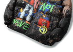 2019 Hip Hop Jacket Parka Cartoon Graffiti Streetwear Men Windbreaker Harajuku Winter Padded Jacket Coat Puffer Vintage Outwear
