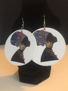 African Woman Wooden Earrings