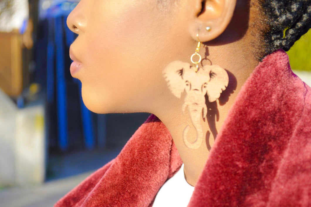 Wooden Elephant carved Earrings