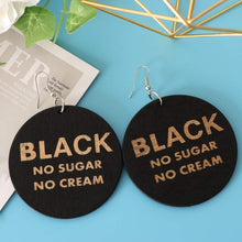 Load image into Gallery viewer, Wooden Black earrings