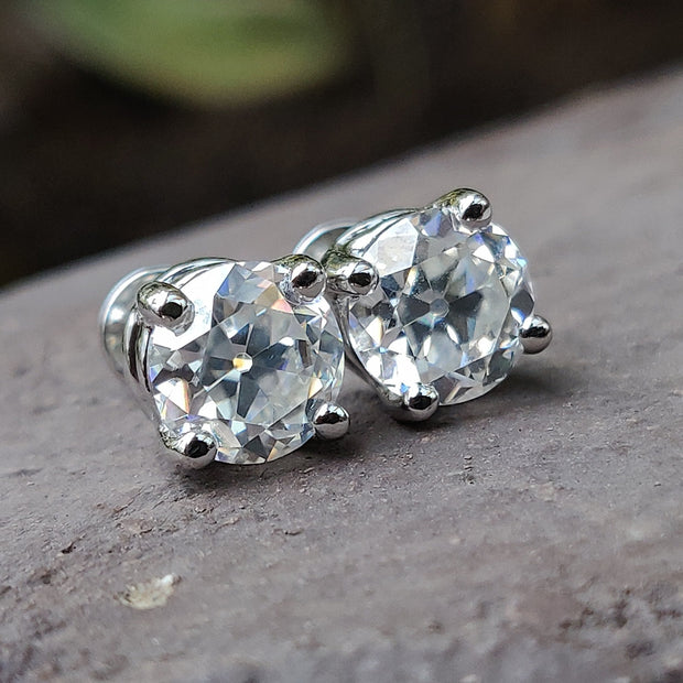 2.14 TCW Round OEC Colorless Moissanite - Four Prong Stud Earrings