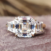 2.78 TCW Asscher Trapezoid Moissanite Three Stones Engagement Ring