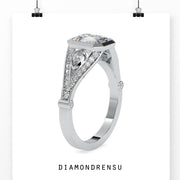 moissanite emerald cut engagement ring - diamondrensu