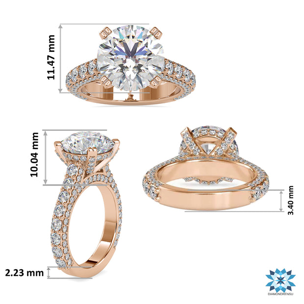 6.82 TCW Round Cut Triple Row Cathedral Pave Set Moissanite Engagement Ring
